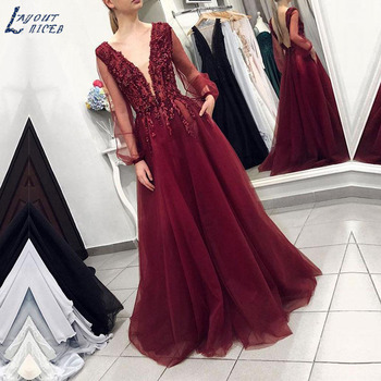 AE1231 New Burgundy Elegant Long Sleeve V Neck Lace Appliques Tulle Evening Dresses Party Prom Dress Formal Gown robe de soiree