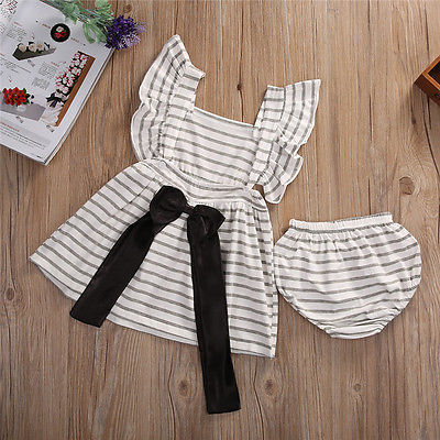 2pcsNewborn-Baby-Girl-Dress-Infant-Striped-Fly-Sleeve-Bowknot-DressShorts-Bottom-Clothes-Outfit-2