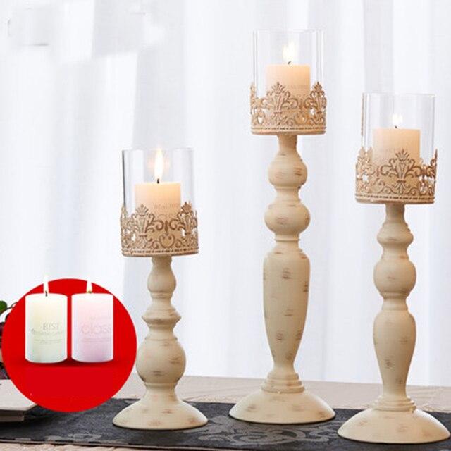 Modern black candlestick metal glass Nordic large Chandelier light moroccan kandelaar wedding centerpieces for tables 50ZT0008 2