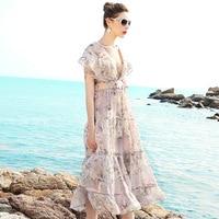 Summer Dress 2017 Womens Chiffon Printed Bohemian Cute Ruffles Sexy Beach Casual Women Club Party Dress