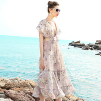 Summer Dress 2017 Womens Chiffon Printed Bohemian Cute Ruffles Sexy Beach Casual Women Club Party Dress
