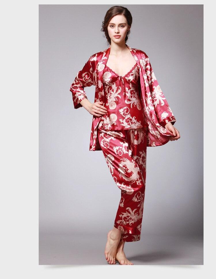 Womens Silk Satin Pajamas Pyjamas Set Sleepwear Loungewear Plus Size three-piece suit  M L XL XXL XXXL silk