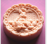 97*97*35mm Królik Okrągły 3D Food Grade Silicone Mold Cake Decoration Kremówka Ciasto Ciasteczka Formy Mydła narzędzie DIY Ciastka Cutter