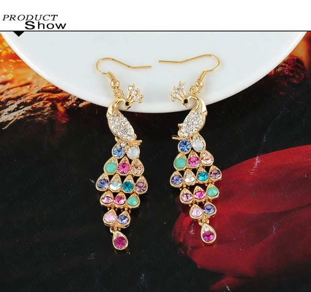 Gold Plated Crystal Peacock Earrings