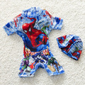 2-10 Years old Boy Summer Swim Suit One Pieces Set With Hat Beach Cartoon Toddler Kids Swimwear Rush Guards Board Shorts S2068