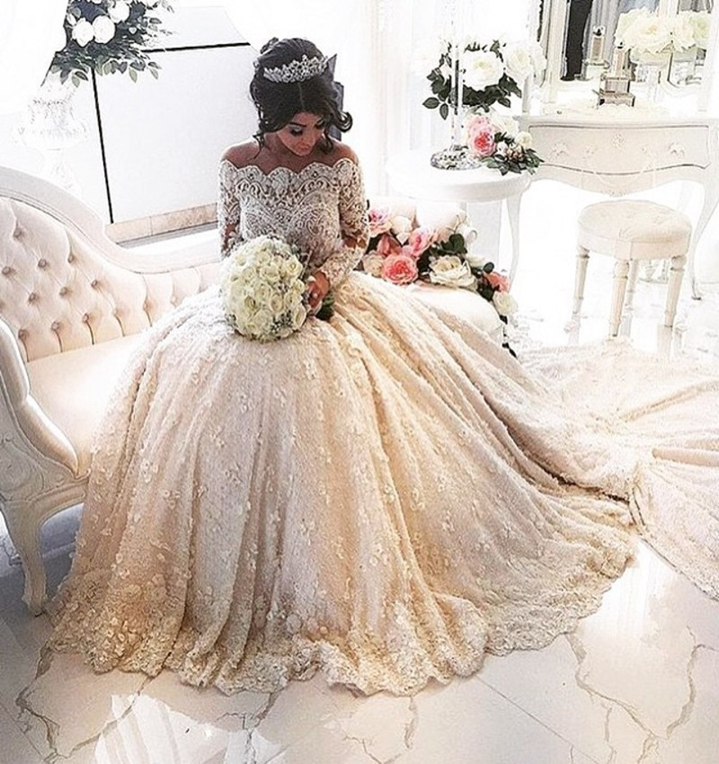 18591205d91 2019 Vintage Lace Long Sleeve Muslim Wedding Dress 2017 Cathedral Train Vestido  De Noiva Sexy See Through A-Line Wedding Gowns