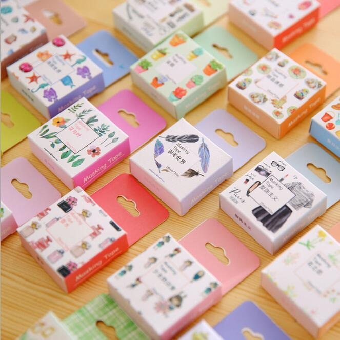 Wholesale study stationery 20pcs/lot Novetly retro Colorful World Washi paper adhesive tape with Paper Box students DIY deco Too