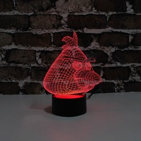 YJM 2845 New Design 3d Illusion effect night lights with red game bird shape for Children Day Room Decoration