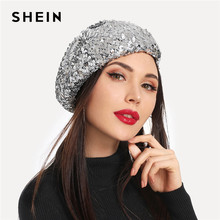 a90e516a8b4 SHEIN Silver Sequin Decorated Beret Cap Ladies Painter All Matched Warm Hats  Women Winter Autumn Artist Female Bonnet