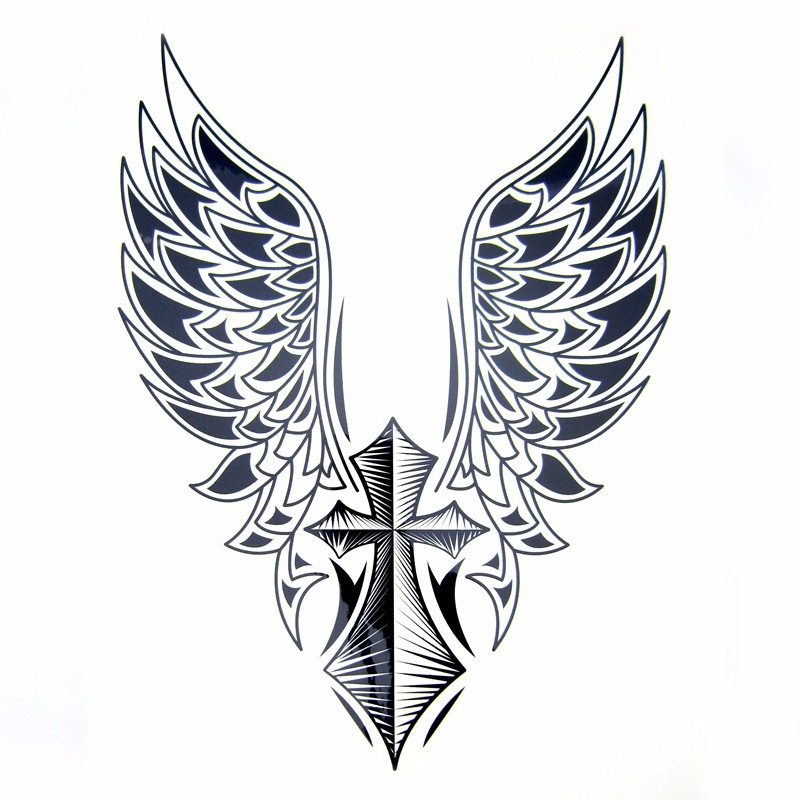 1pcs Big Cool Mens Cross Wing Tattoos,Beautiful Arm Back Cross Wings Waterproof Large Temporary Tattoo Stickers For Men 30*21cm 4