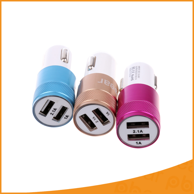 Universal Micro Auto 5V 2.1A Double Ports USB Car Charger Power Supply Adaptor Socket Power For Mobile Phones Tablet PC iPad