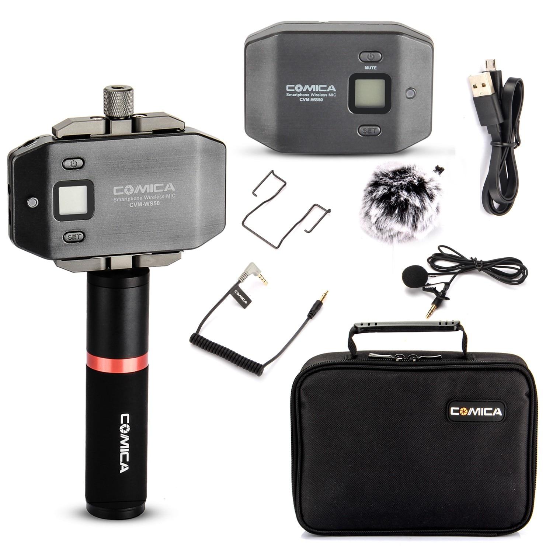 Comica CVM-WS50 (B) Microphone de Lavalier sans fil micro de revers externe avec poignée pour appareil photo iphone DSLR Smartphone Android