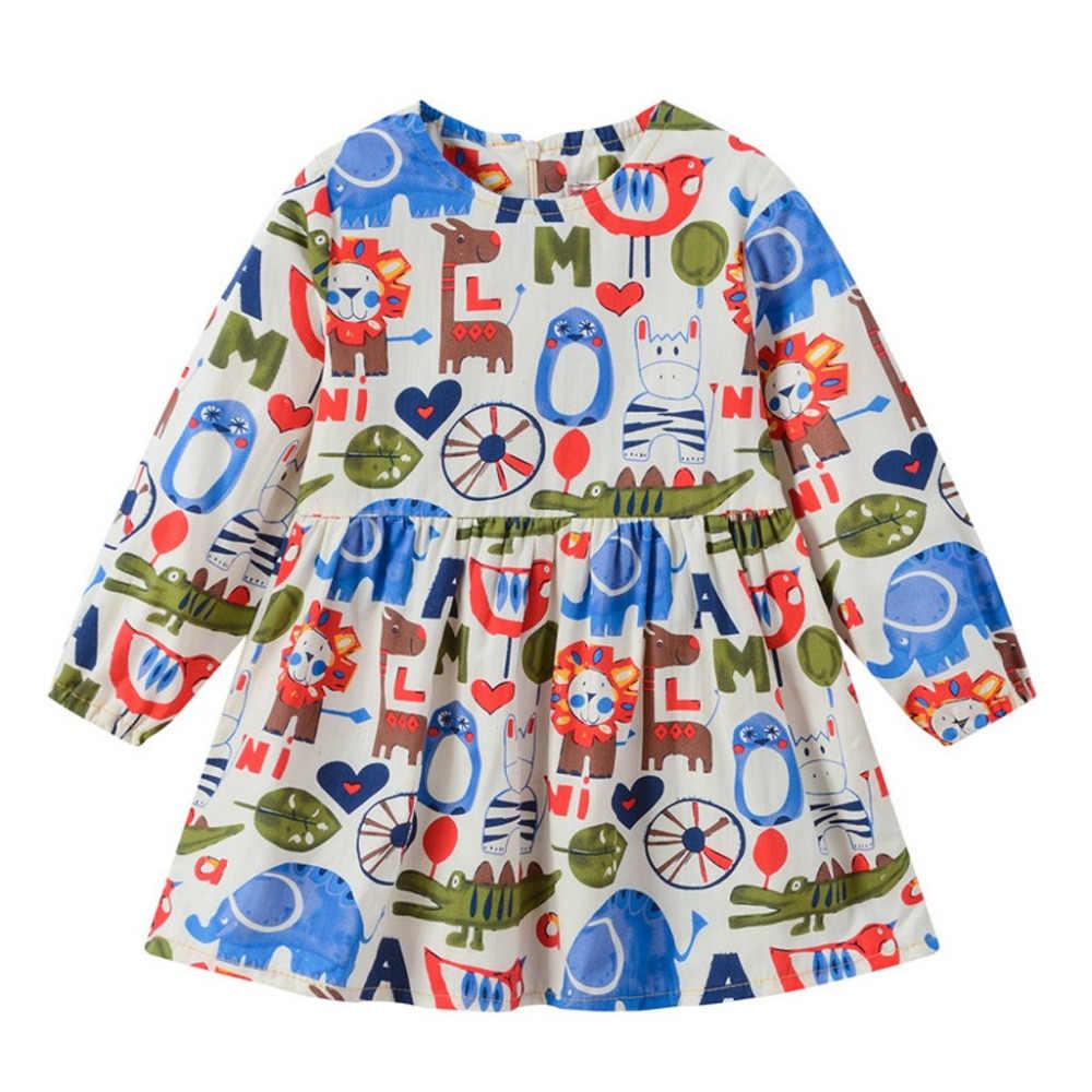 Criança Bebê de Crianças Meninas Dos Desenhos Animados Manga Comprida Zipper criança vestidos da menina Vestidos de Princesa Roupas JAN25
