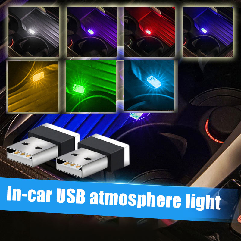 2 Pcs LED USB Car Atmosphere Lights Decorative Lamp Emergency Lighting Universal PC Portable Plug And Play Red/Blue/White/Yellow