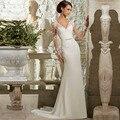 Shopping Sales Online Long Sleeves Mermaid Chiffon Wedding Dress Sexy Sheer Back Vestido De Novia New Bridal Dresses 2015 Cheap