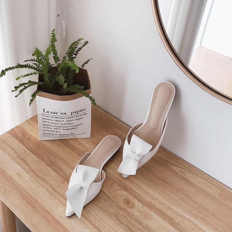 Mũi Nhọn Nơ Dép nữ mùa hè mặc Bao Đầu nửa Dép 2019 mới lười thời trang giày sandal nam nữ