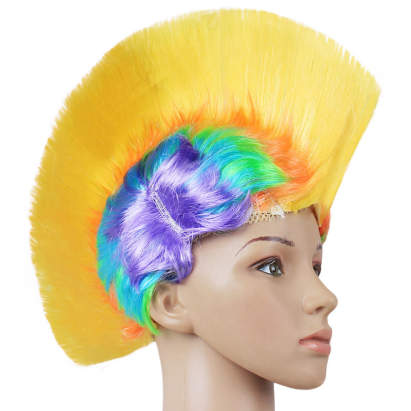 Hair Fancy Rock Punk Cosplay Party Wig Rainbow Costume Mohican Halloween Mohawk cosplay star wars costume han solo halloween full set party halloween costume