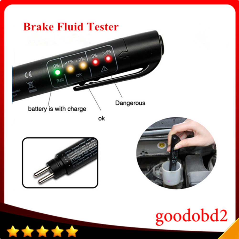 Mini Universal Remvloeistof Tester Pen Met 5 Leds Display Auto Car Electric Circuit Tool Vgate Powerscan Pt150 Power Probe Digitale Testen Voertuig Automotive Voor Dot3