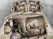 цены Elephant Bedding set Luxury Super King Queen size 3D quilt duvet cover bed in a bag sheet linen full twin single double  4PCS