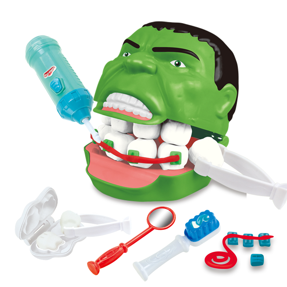 Green Giant Hulk Dentist Pretend Play Clays Children's Educational Toys Set For Kid With Plasticine  Pretend Play Doctor
