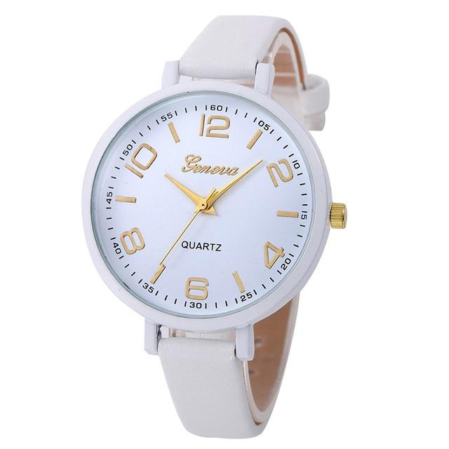 Montres Women Watches Geneva Watch Small Faux Leather Quartz Analog Wrist Watch