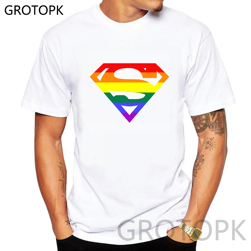 Creative Superman Pride Lgbt Gay Rainbow Man's T-shirt Short Sleeve Hipster Tops Tshirt Printed Harajuku T Shirts Tee Shirt Mens
