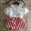new 2016 girls summer short sleeve princess t shirt+striped short pant clothing set 2pcs kids summer clothes set