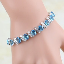 Casual 925 Sterling Silver Jewelry Mystic Sky Blue Cubic Zirconia White CZ Charm Bracelets For Women clean rectangle blue cubic zirconia white cz 925 sterling silver drop dangle earrings for women v0368