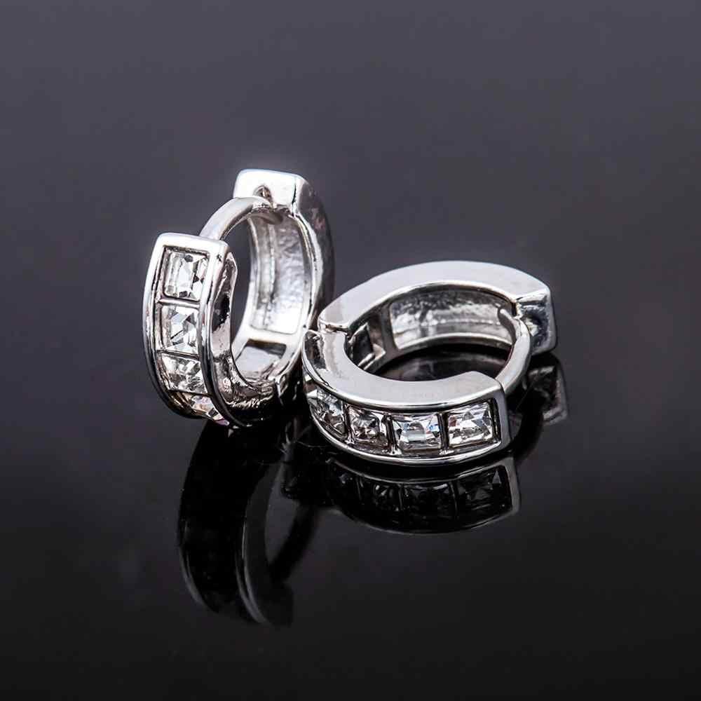 Vintage Women Round Earrings Cubic Zirconia   Earing White Stone Crystal Luxury Circle Hoop Earring Jewelry