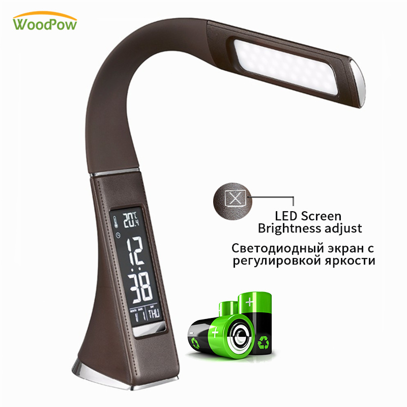 WoodPow LED Business Rechargable Desk Lamp with Alarm Clock Digital Display Dimmable Reading Light Touch Switch Desk Table Lamps 3d led desk lamps butterfly usb dimmable brightness desk table lamp night warm light adjustable reading led light gift decor