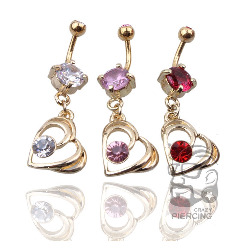 Fashion Love Heart belly button rings Bar Surgical ...
