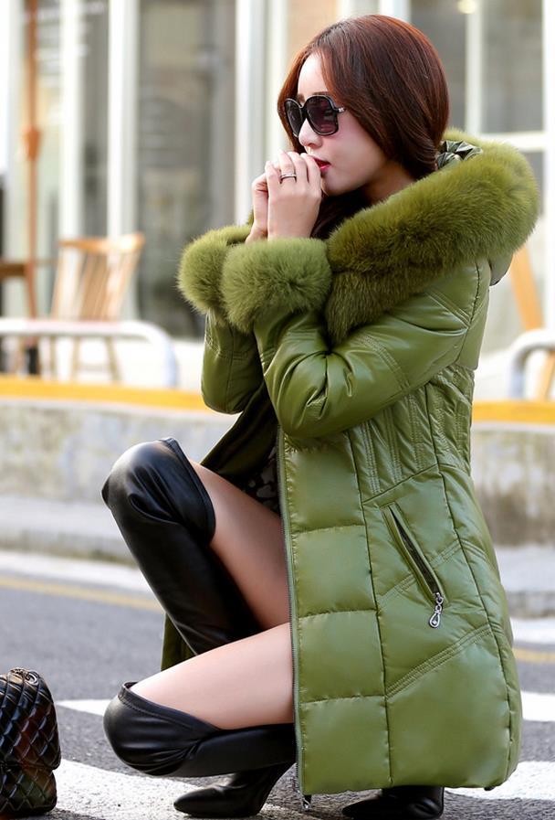 Renard Épais À En De Fourrure Vêtements Capuchon Femmes Noir Nouvelles yellow Cuir Veste 2018 Taille black Red Col Plus D'hiver green white Chaud La Manteau pnUwYPqxv4