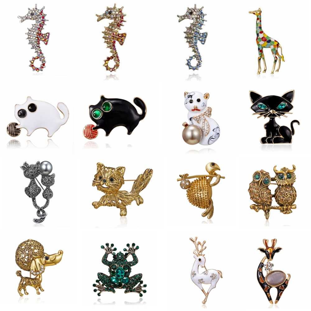 Rinhoo Enamel animal seahorse frog owl deer cat dog Brooches For women girl Brooch Pins Gift Cute Animal Casual Jewelry