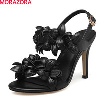 MORAZORA New High Quality Genuine Leather High Heels Women Sandals Fashion Flower Sexy Ladies Solid Summer