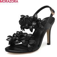 MORAZORA New High Quality Genuine Leather High Heels Women Sandals Fashion Flower Sexy Ladies Solid Summer