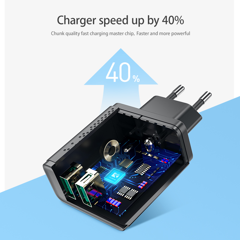 Image 3 - FLOVEME Dual USB Charger 5V 2.4A Fast Charging Wall Charger Adapter EU Plug Mobile Phone For iphone ipad mini Samsung Xiaomi-in Mobile Phone Chargers from Cellphones & Telecommunications