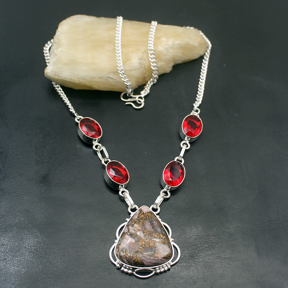 Constructive Unique Charming Pink Rhdochrosite Red Garnet 925 Sterling Silver Pendant Necklace Women Jewelry 18 Inch Tf883 Moderate Cost Jewelry & Accessories Chain Necklaces