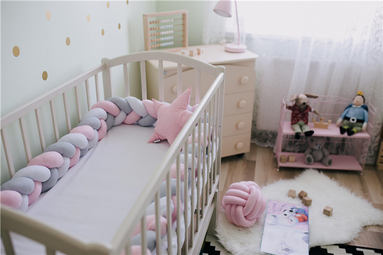 1Pcs 1M/2M/3M/4M Baby Nodic Knot Newborn Bed Bumper Long Knotted Braid Pillow Baby Bed Bumper Knot Crib Infant Room Decor