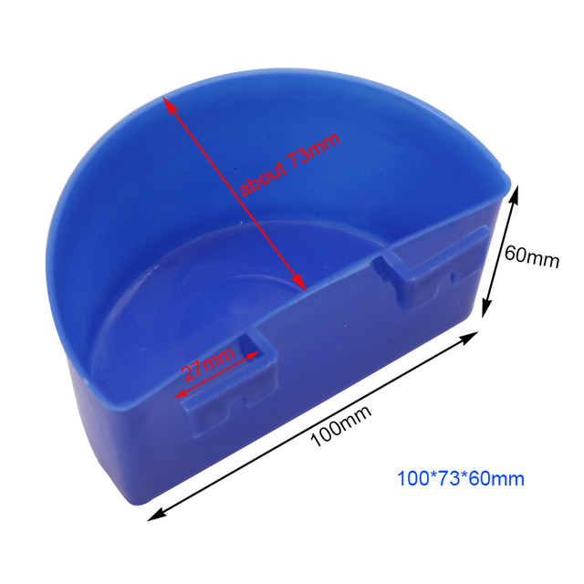 20 pcs 100 * 73 * 60mm Bird Pigeon Universal Waterer Parrot Food Trough Hanging Plastic Good Container Thick Blue Plastic Bowl