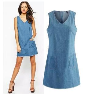 2cf4c93ab7 2015 new fashion women elegant denim summer shift dress retro V-neck  sleeveless pockets vest dress college casual loose dress