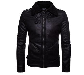winter men leather jacket man faux fur coats mens stand collar black Europe and America autumn warm casual clothes S - 2XL