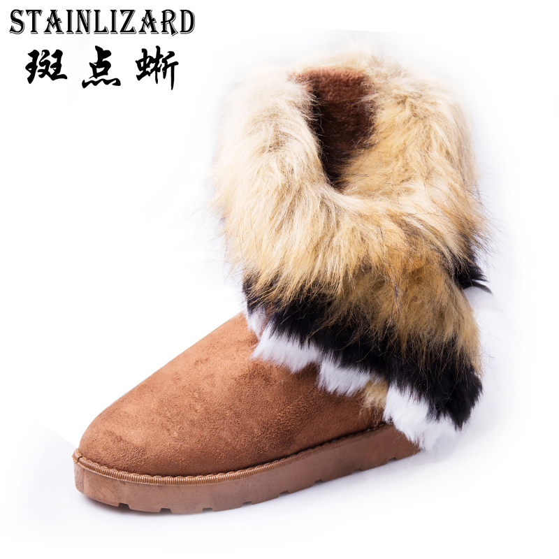 STAINLIZARD Women Snow Boots Winter Female Ankle Boots Casual Solid Woman Outdoor Shoes Faux Suede Warm Ladies Footwear HST910