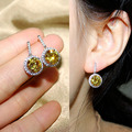 Sparkling Fashion Round CZ diamond Drop Earrings Red Pink Yellow Green Sapphire Blue Stone Dangle Earrings For Women Jewelry