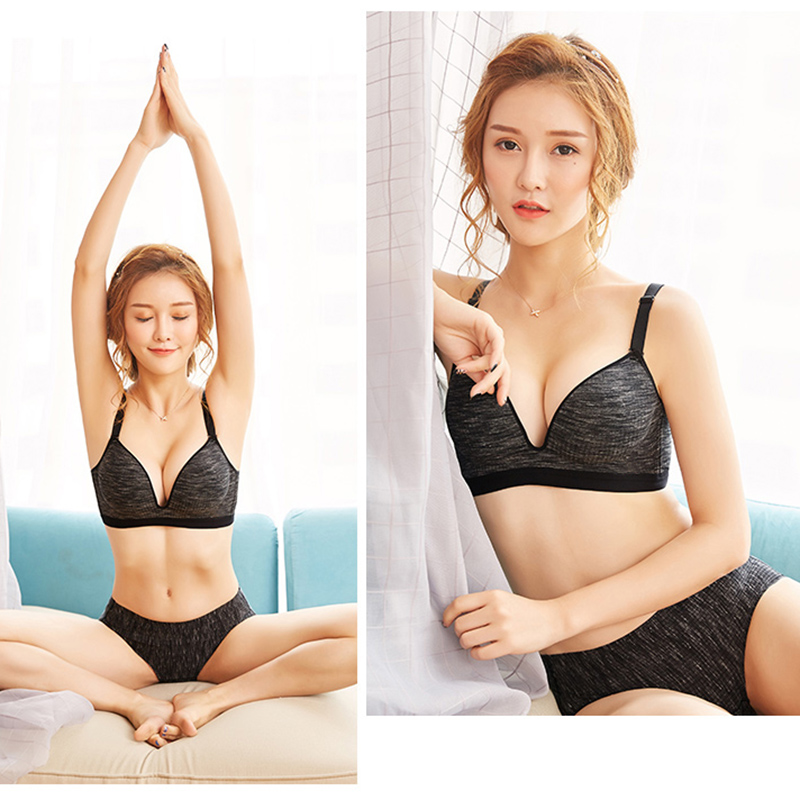 2pcs Seamless Bras For Women Padded Wire free Shake proof Push Up Sexy Top Decompression Bralette Relaxed Cotton Underware #D
