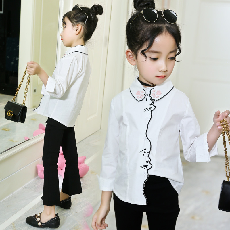 Fashion Design Girls blouses cotton kids white school blouse <font><b>shirts</b></font> spring children clothes 2020 size <font><b>2</b></font> 3 4 5 6 7 8 Y image
