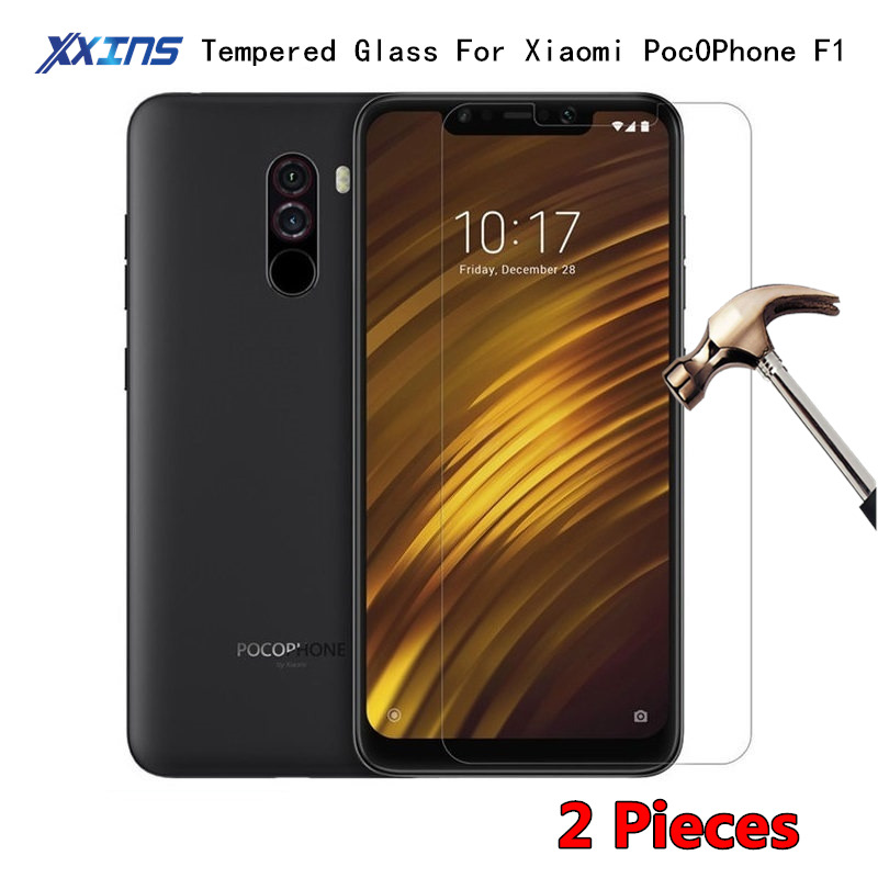 2Pcs Tempered GLASS For Xiaomi POCOPHONE F1 POCO F1 Global Version Screen Protective Snapdragon 845 on Toughened HD Cover Film in Phone Screen Protectors from Cellphones Telecommunications