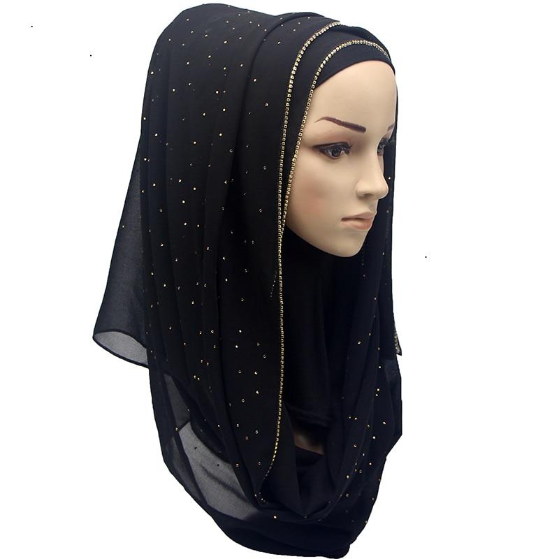 Shinny Crystal Muslim Hijab Plain Instant Shawls Bubble Chiffon Long Scarf Amira Slip On Scarves Wraps Women Headband