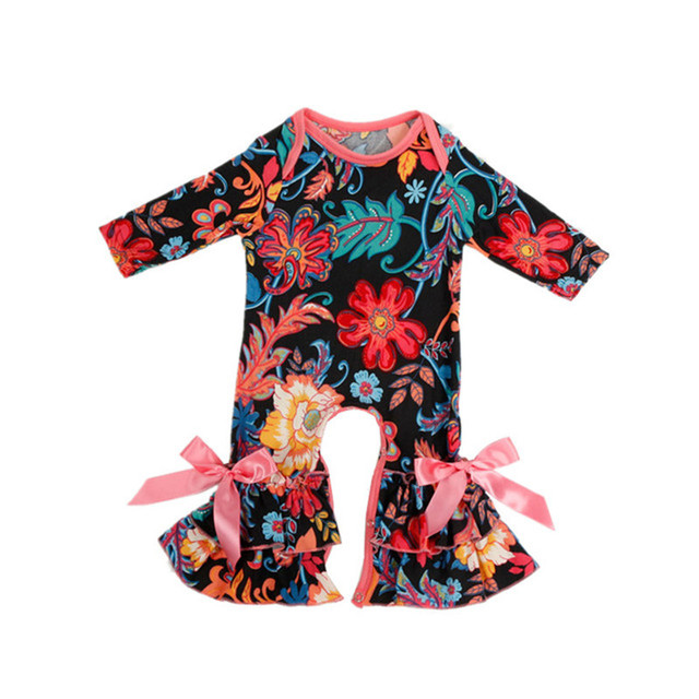 0060c26f2ee7 Vintage Floral Baby Girl Romper Cotton Long Sleeve Baby Romper Spring  Newborn Baby Clothes newborn Shower Gift girl gown