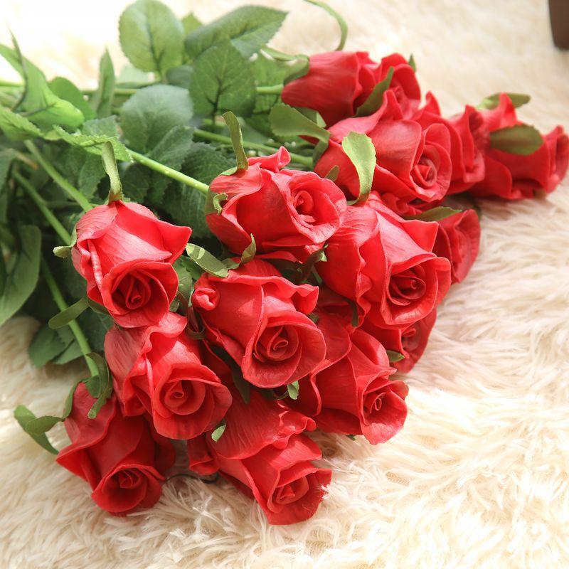 unids latex real touch flores flores de seda rosa floral de la boda bouquet