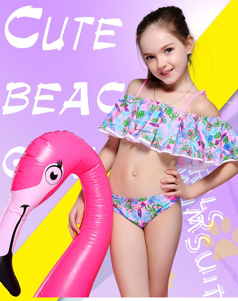 bf4a2fbf2bf Andzhelika Children's Swimwear Summer Girls bikinis Set Print Two-Piece  Suits Ruffle Swimwear Swimming Suit Bathing Suit - dashisland